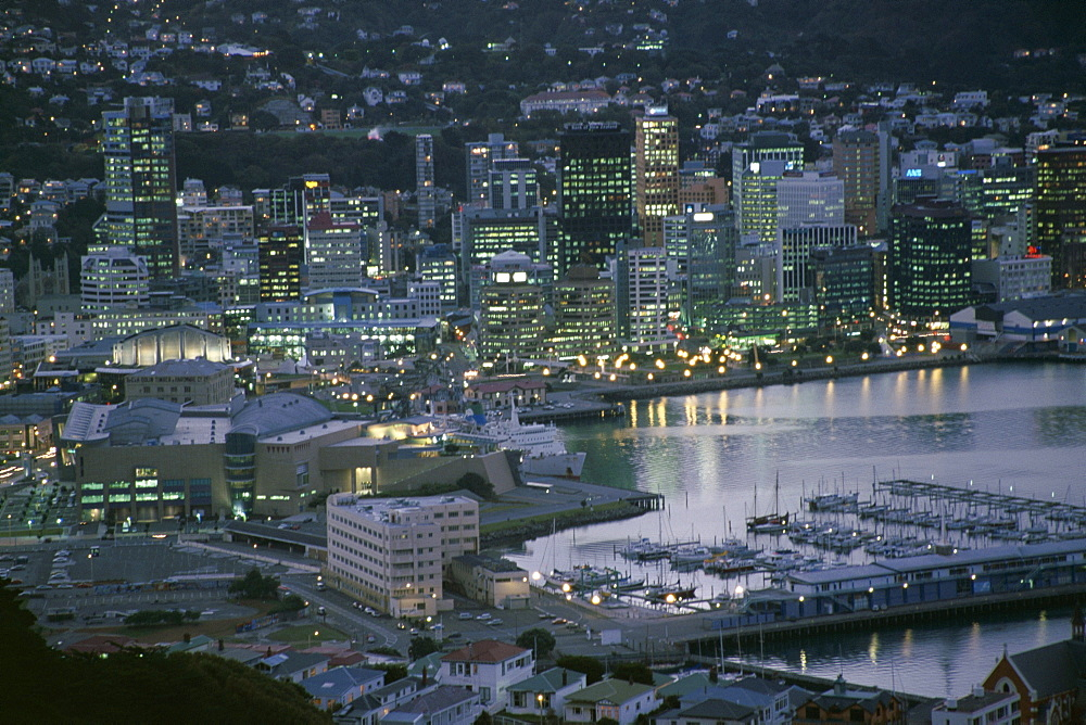 Te Papa Museum Marina and city lights in the evening, Wellington, North Island, New Zealand, Pacific