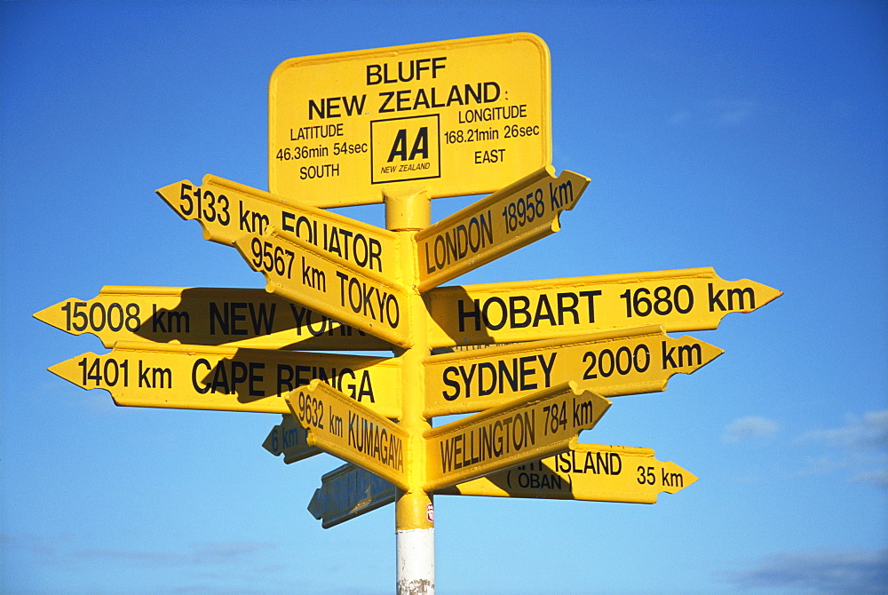 Signposts to cities around the world at most southerly point in the country, Bluff, Southland, South Island, New Zealand, Pacific - 581-2430