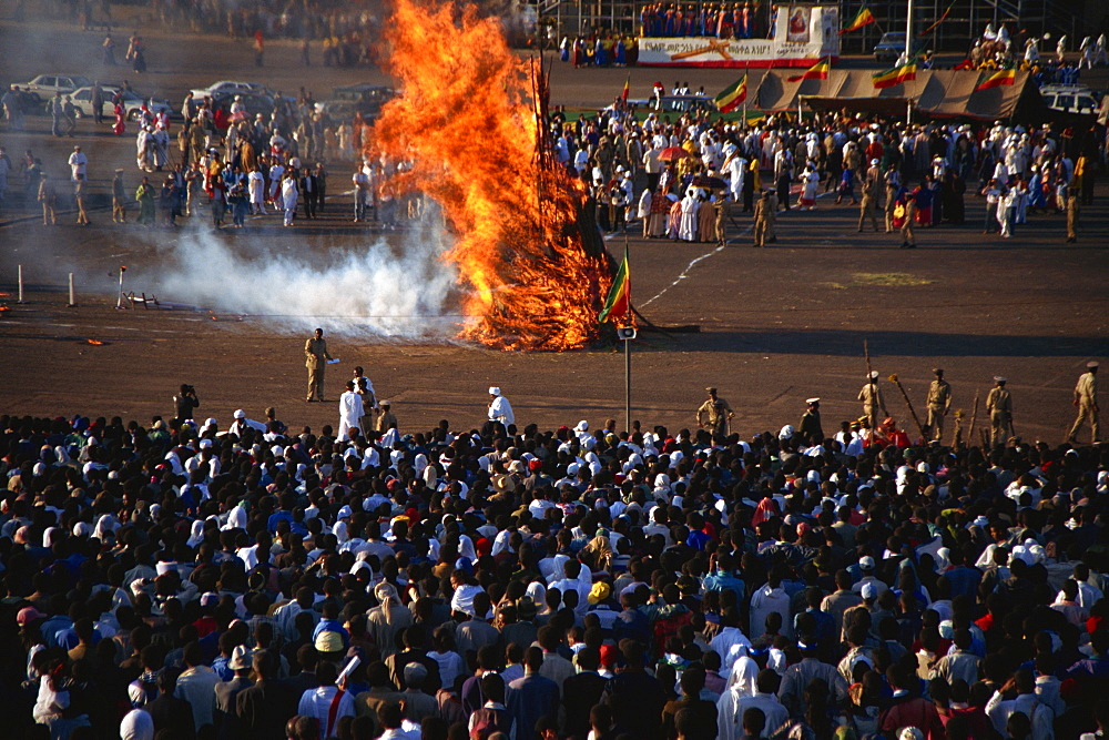 Burning ceremony, Mescal celebration, Addis Ababa, Ethiopia, Africa