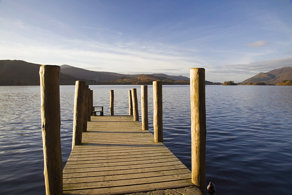 Wooden jetty at Barrow Bay landing on Derwent Water looking north west in autumn, Keswick, Lake District National Park, Cumbria, England, United Kingdom, Europe - 586-1360