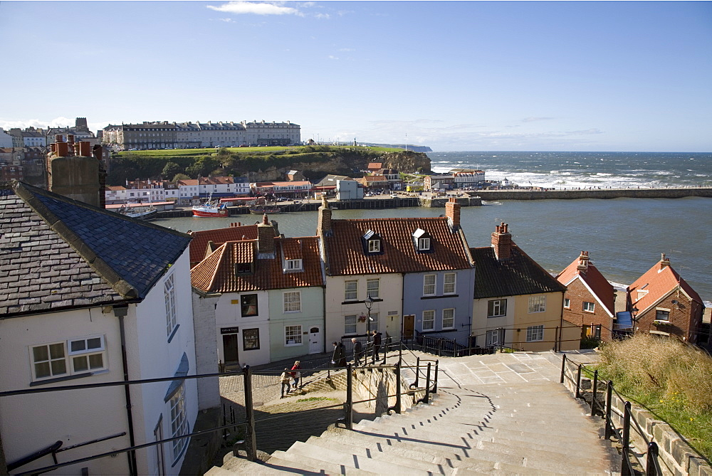 Old Town and River Esk harbour from steps on East Cliff, with West Cliff beyond, Whitby, Heritage Coast of North East England, North Yorkshire, England, United Kingdom, Europe - 586-1372