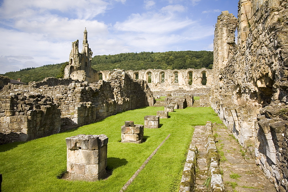 Ruins of the 12th century Cistercian Byland Abbey, destroyed by Scottish army in Battle of Byland 1322, when Edward ll was defeated, Coxwold, North York Moors National Park, Yorkshire, England, United Kingdom, Europe - 586-1380