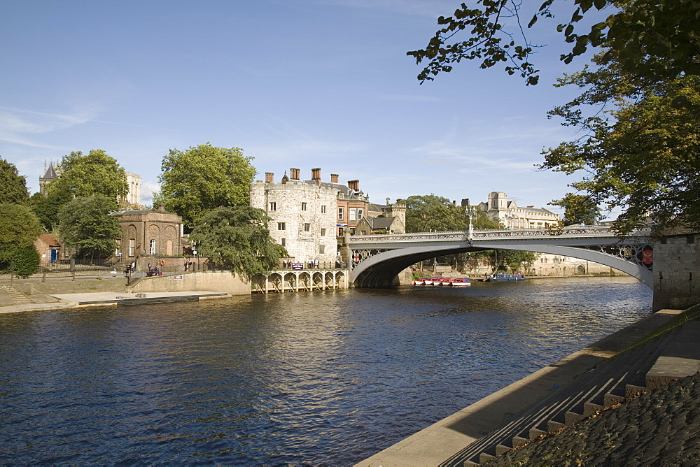 River Ouse with Lendal Bridge and Lendal Tower beyond, York, Yorkshire, England, United Kingdom, Europe - 586-1383
