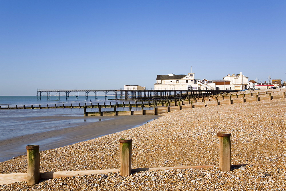 Deserted pebble beach at low tide and pier from east side, Bognor Regis, West Sussex, England, United Kingdom, Europe - 586-1419