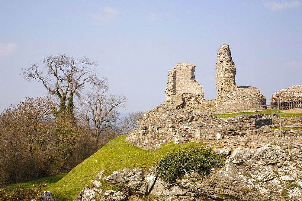 Ruins of Montgomery Castle built in 1223 by Henry III on rock outcrop above town in The Marches, Welsh border region, Montgomery, Powys, Wales, United Kingdom, Europe - 586-1422