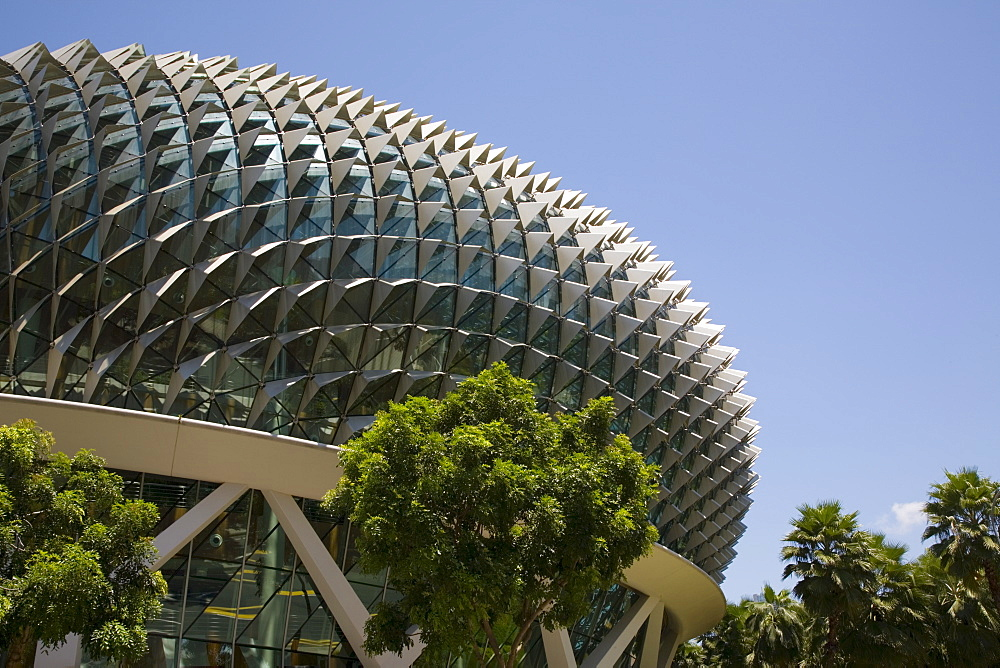 Esplanade Theatres on the Bay and Concert Hall centre for performing arts, durian shaped dome roof with aluminium sunshades, opened 2002, Marina Bay, Singapore, Southeast Asia, Asia - 586-1426