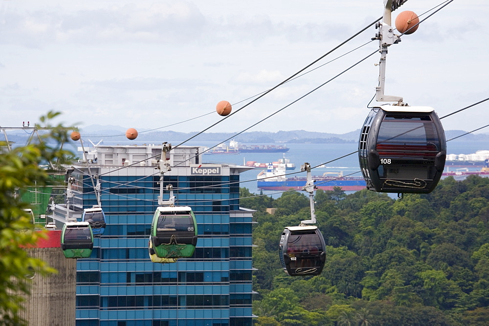Sentosa Island cable cars approaching Mount Faber Point Jewel Box station from HarbourFront development, Singapore, Southeast Asia, Asia - 586-1435