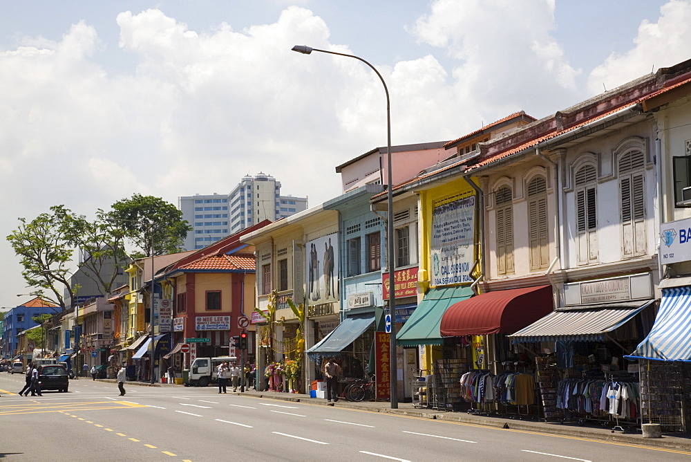 Colourful old shophouses in Serangoon Road, main commercial thoroughfare in Little India, Singapore, Southeast Asia, Asia - 586-1443