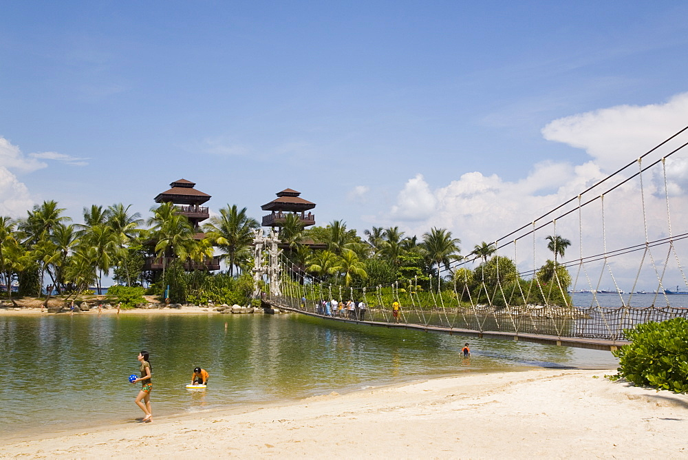 Palawan Beach, lookout towers on small island, the southernmost point of continental Asia, and rope suspension footbridge across sea lagoon, Sentosa Island, Singapore, Southeast Asia, Asia - 586-1446