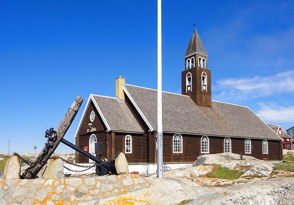 The 18th century Zions Kirke (Zion Churc) in summer 2016, Ilulissat (Jakobshavn), Qaasuitsup, Greenland, Polar Regions - 586-1503