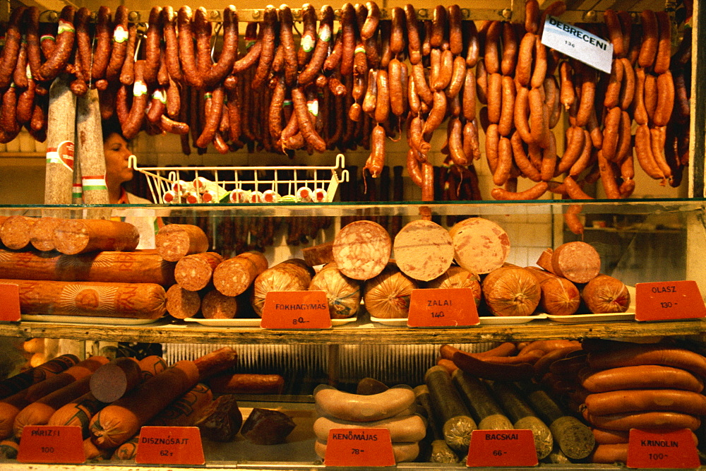 Many varieties of sausages for sale in the market, Budapest, Hungary, Europe - 59-1862
