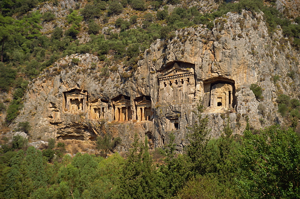Lycian rock tombs, Dalyan, Anatolia, Turkey, Asia Minor, Eurasia - 59-2105
