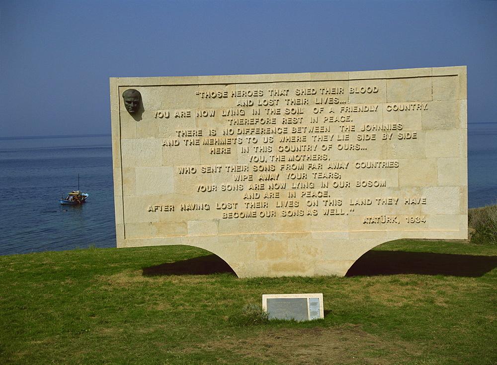 The Ataturk message, Anzac Cove Cemetery, near Gallipoli, Turkey, Europe - 59-2206