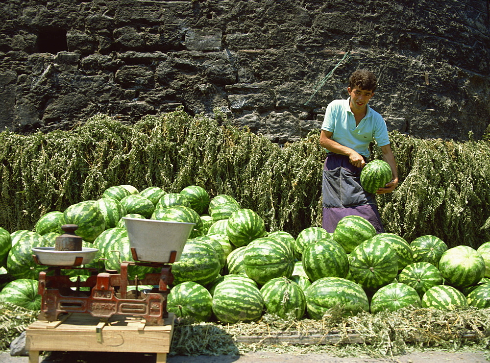 Watermelons for sale on a street corner, Istanbul, Turkey, Europe - 59-2232
