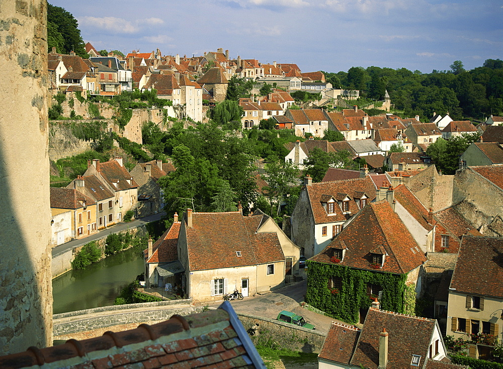 Semur en Auxois from the ramparts, Burgundy, France, Europe - 59-2696