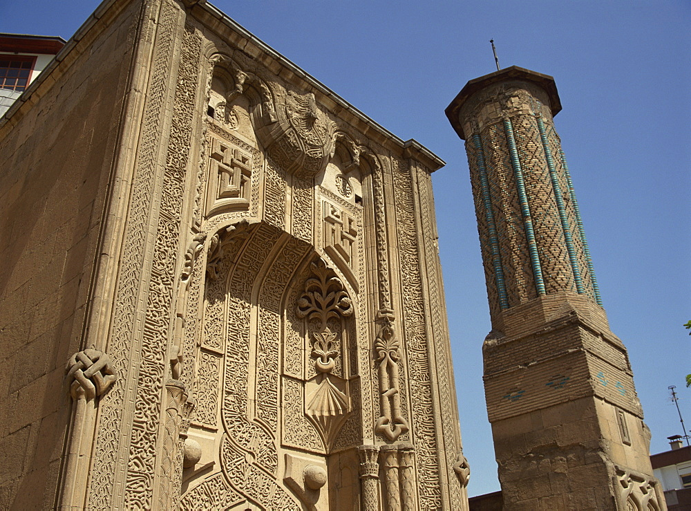 The Ince Minare Medrese, now the Museum of Wood and Stone Carving, Konya, Anatolia, Turkey, Asia Minor, Eurasia - 59-3045