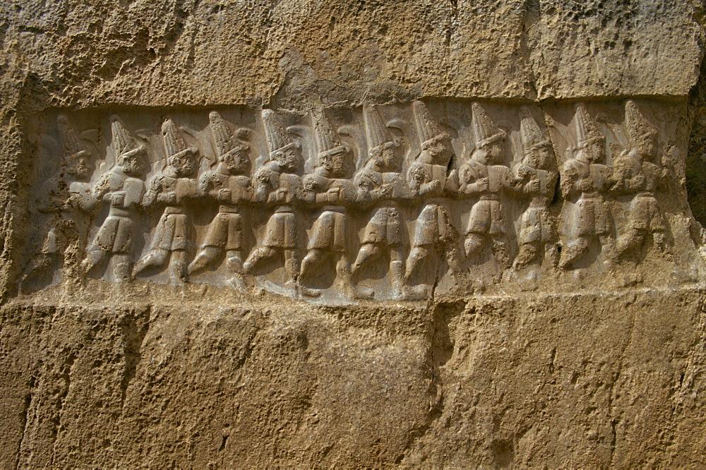 Hittite soldiers, at former capital Hattusas (Hattusha), Vazilikaya near Bogazkale, Anatolia, Turkey, Asia Minor, Eurasia - 59-3374