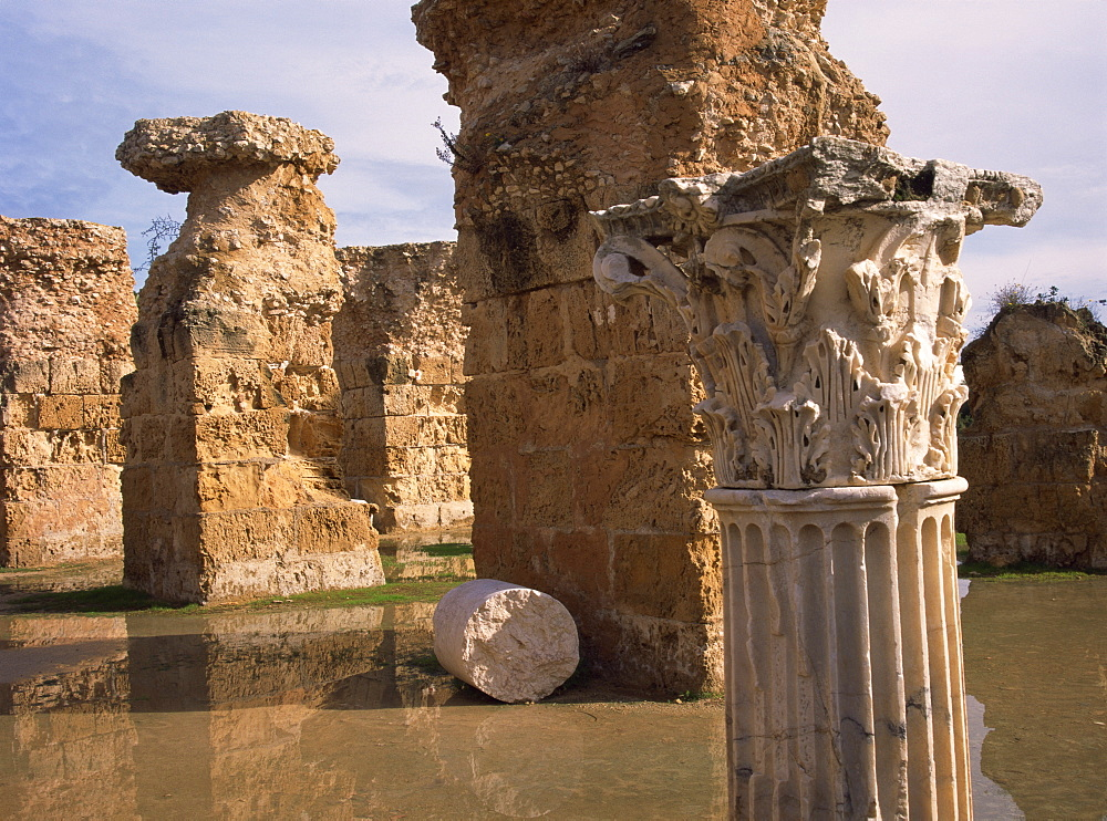 Ruins of the Roman Baths at Carthage, UNESCO World Heritage Site, Tunisia, North Africa, Africa