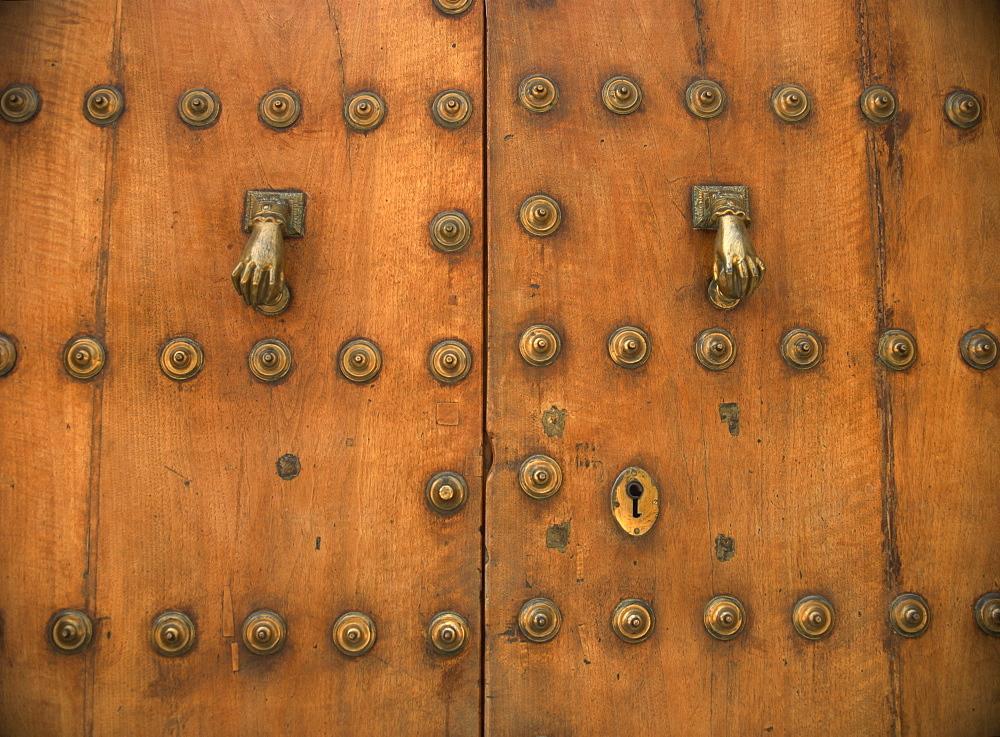 Detail of old door with hand of Fatima doorknockers, Ronda, Andalucia, Spain, Europe - 59-3706