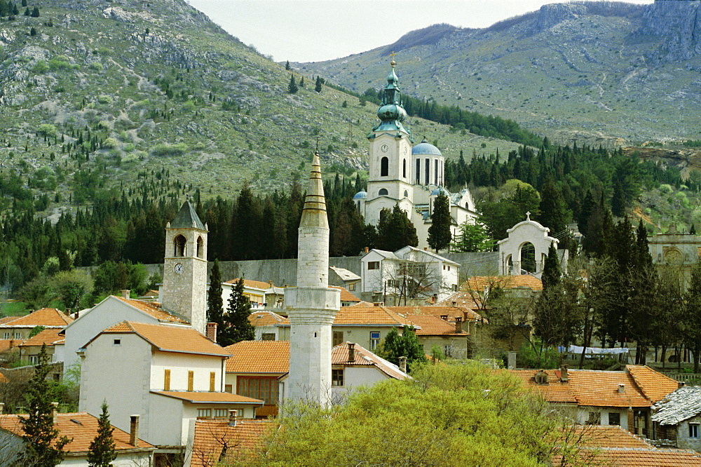 Minarets and church towers symbolise religions of former Turkish town, Mostar, Bosnia Herzegovinia, Europe - 59-470