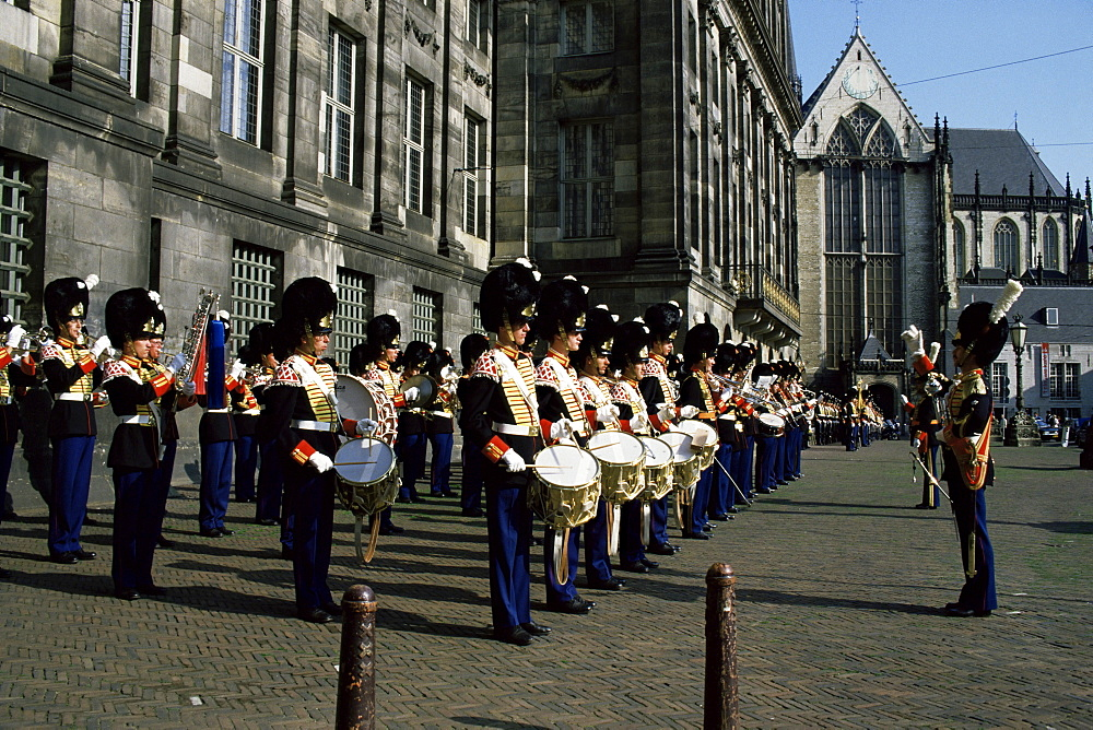Guards band, Royal Palace, Dam Square, Amsterdam, Holland, Europe