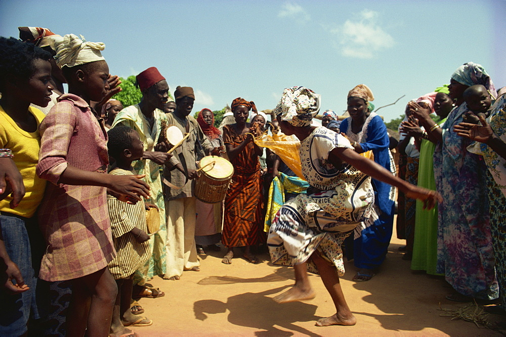 Woman dancing in fertility dance in Lobi Village, Burkina Faso, West Africa, Africa