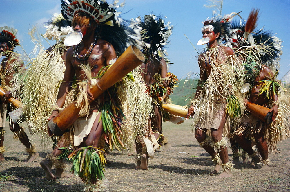 Dancers from Daru island carrying kundu drums at a sing-sing, Port Moresby, Papua New Guinea, Pacific