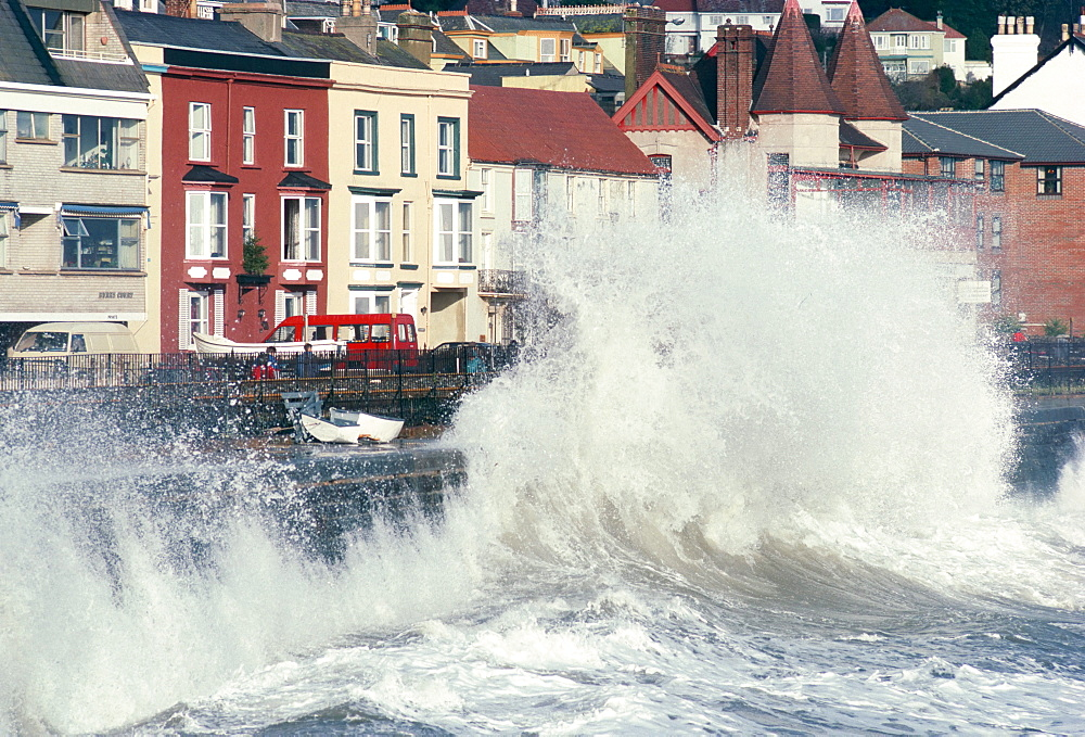 Waves pounding sea wall and rail track in storm, Dawlish, Devon, England, United Kingdom, Europe - 6-5766