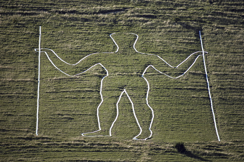 The Long Man, Wilmington Hill, near Wilmington, South Downs, Sussex, England, United Kingdom, Europe