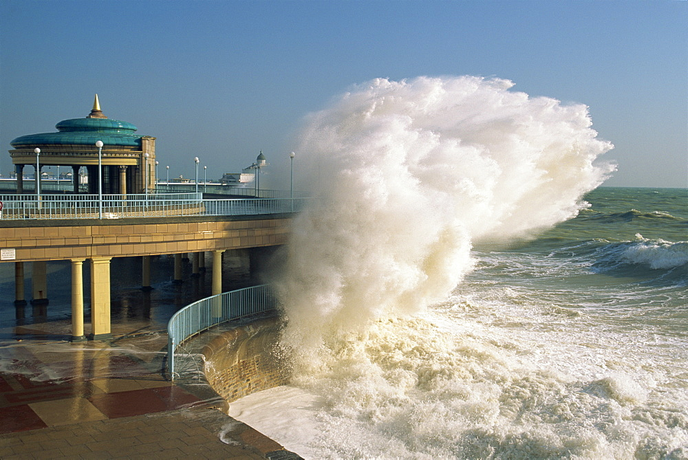 Waves pounding bandstand, storm in Eastbourne, East Sussex, England, United Kingdom, Europe - 6-7341