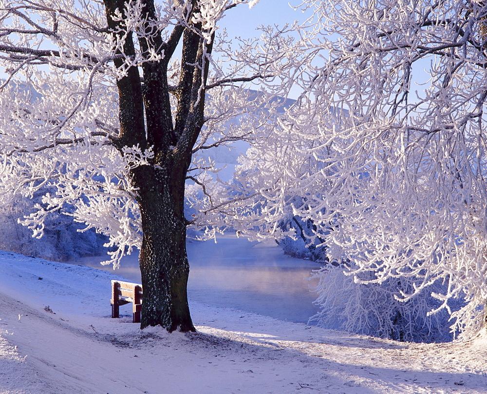 Winter scene beside the River Tay, Aberfeldy, Perthshire, Scotaland, UK