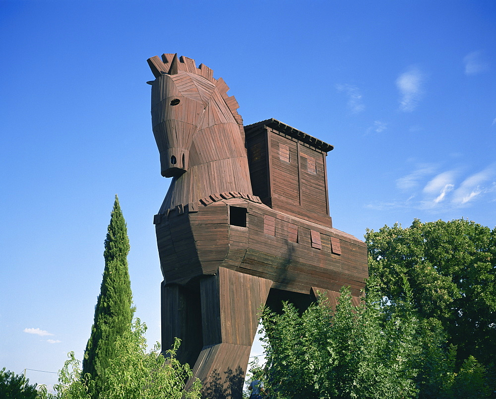 Exterior of the replica Trojan Horse, Troy, Anatolia, Turkey, Asia Minor, Asia