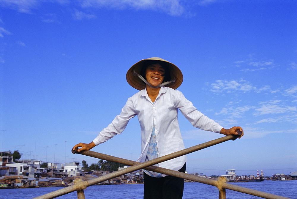 Boat on the Mekong River, Chau Doc, Vietnam, Indochina, Southeast Asia, Asia