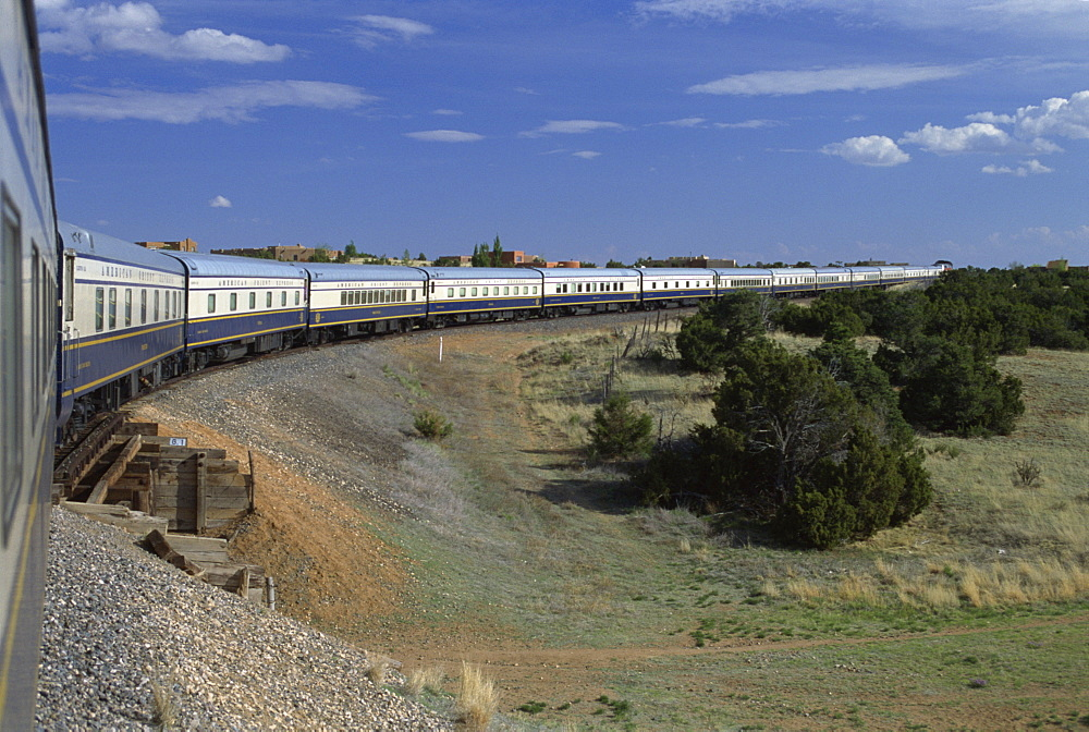 View from open doorway on the American Orient Express train, travelling in the Southwest U.S., United States of America, North America - 615-436