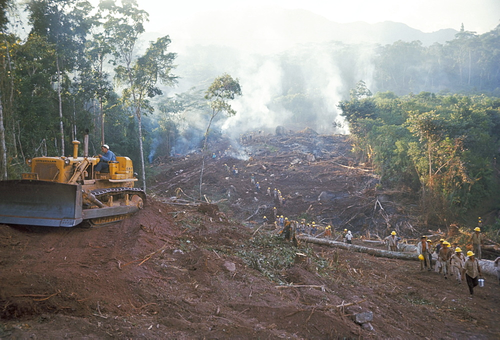 Clearing forest for building of the Forest Edge highway in high jungle region of Tarapoto, Peru, South america