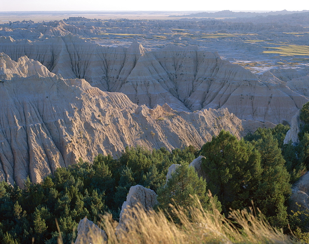 View over eroded landscape, Badlands National Park, South Dakota, United States of America (USA), North America