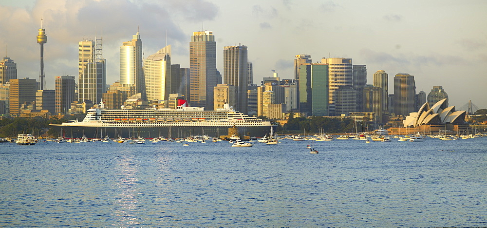 Queen Mary 2 on maiden voyage arriving in Sydney Harbour, New South Wales, Australia, Pacific
