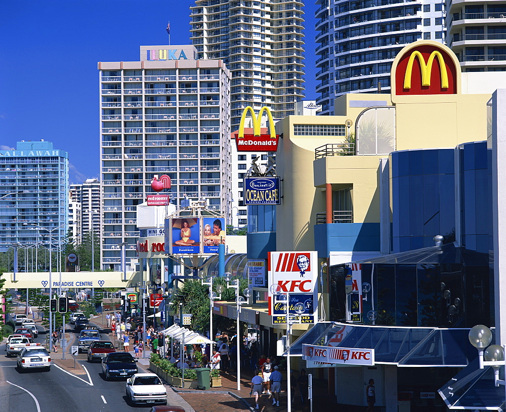 High angle view of a street scene, with fast food outlet signs, in Surfers Paradise, Gold Coast, Queensland, Australia, Pacific