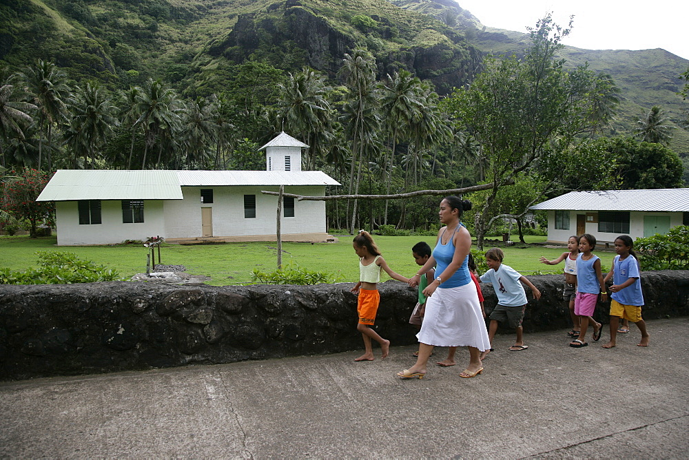 Schoolchildren, Hanavave, Island of Fatu Hiva, Marquesas Islands, French Polynesia