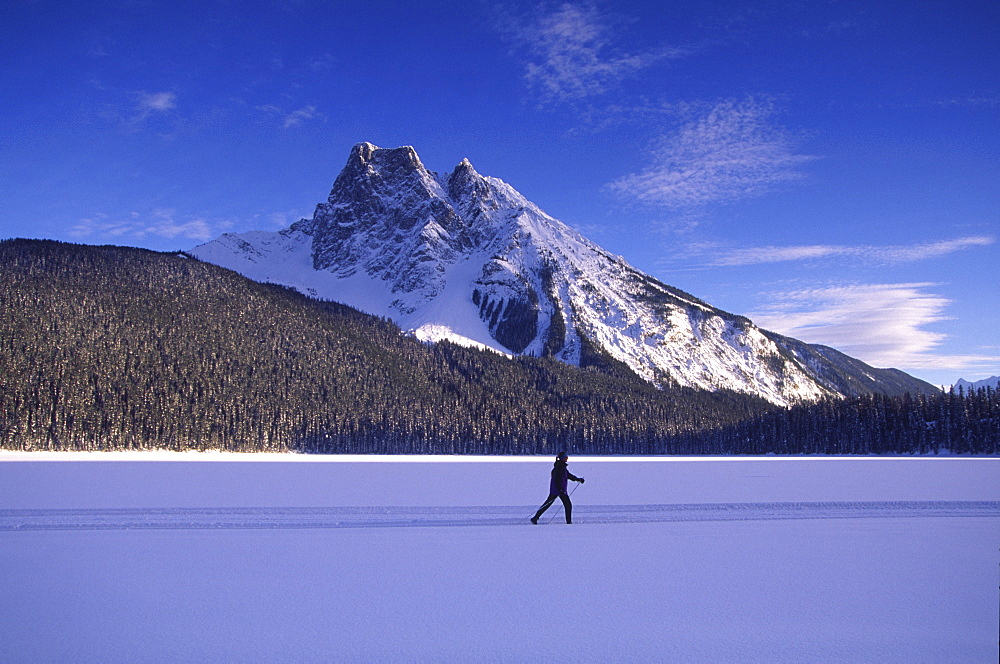 Cross country skiing, Lake Emereald, British Columbia, Canada