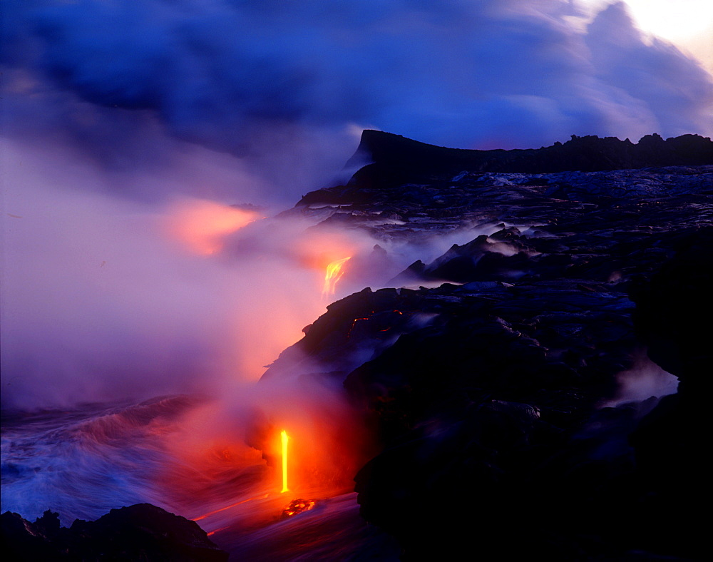 Lava flowing into Pacific Ocean, Kilauea Volcano, Hawaii Volcanoes National Park, UNESCO World Heritage Site, Island of Hawaii, United States of America, Pacific