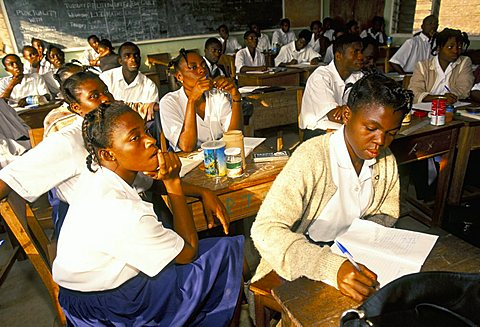 Students in classroom, secondary school, Ghana, West Africa, Africa