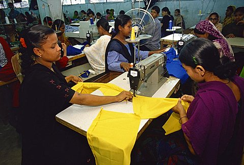 Women working in garment factory, Dhaka, Bangladesh, Asia