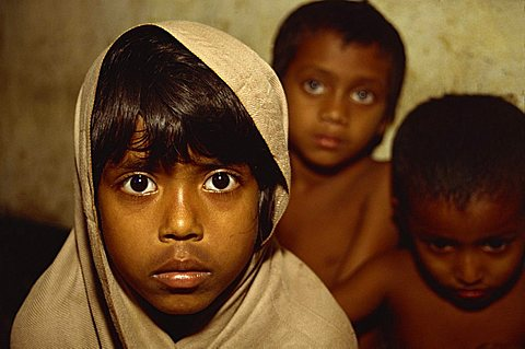 Portrait of children of the Dhaka (Dacca) slums, Bangladesh, Asia
