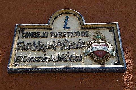 Tourist office sign, San Miguel, Guanajuato State, Mexico, North America