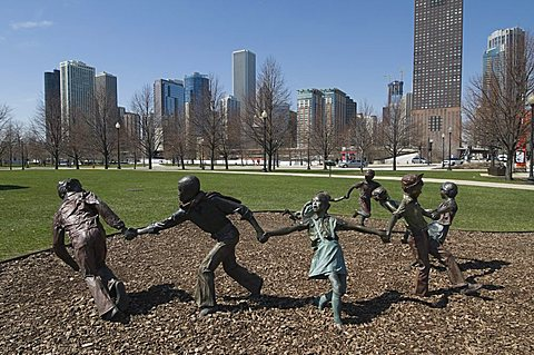 Statues in Gateway Park near Navy Pier, Chicago, Illinois, United States of America, North America