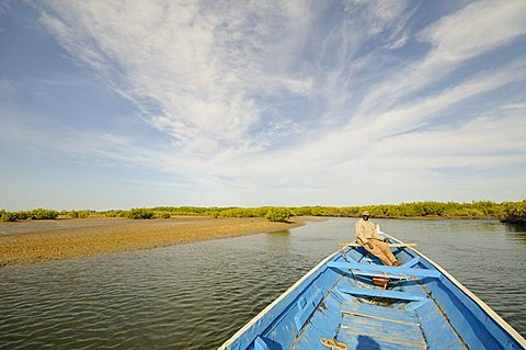Pirogue or fishing boat on the backwaters of the Sine Saloum Delta, Senegal, West Africa, Africa