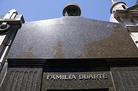 Eva Peron's (Evita's) grave, Cementerio de la Recoleta, Cemetery in Recoleta, Buenos Aires, Argentina, South America