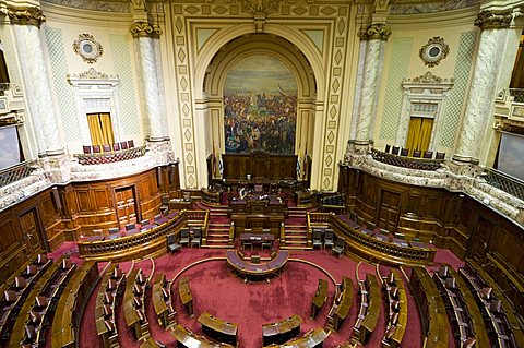 Legislative chamber, interior of Palacio Legislativo, the main building of government, Montevideo, Uruguay, South America