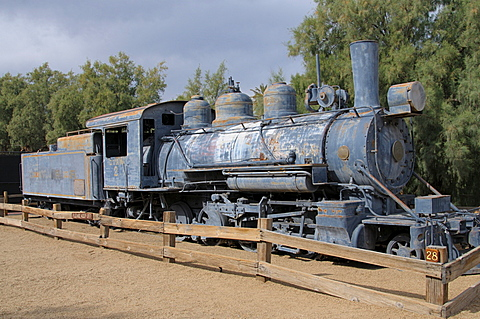 Old steam locomotive, Furnace Creek, Death Valley, California, United States of America, North America
